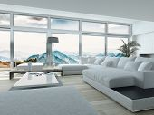 Elegant Living Room Design, with White Furniture, Inside Architectural Building with Huge Glass Windows. 3D Rendering.