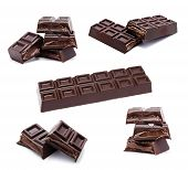 Dark Chocolate Bars Stack Isolated
