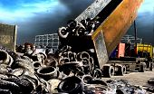 pic of trash truck  - Truck tipping old used tires for recycling - JPG