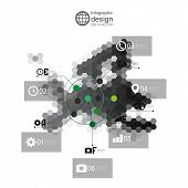 Europe map, infographic template for business design, hexagonal design vector illustration
