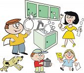 Family in kitchen cartoon