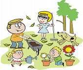 Family garden cartoon