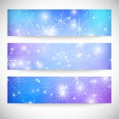 Winter backgrounds set with snowflakes. Abstract winter design and website templates, abstract patte