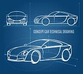 foto of offside  - Concept car technical drawing showing front  side and offside orientations in a line drawing format on a blue background  vector illustration - JPG