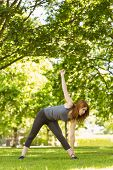Pretty athletic redhead stretching in park in a sunny day