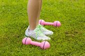 Low section of woman with dumbbells on grass at park