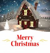 Christmas greeting card against christmas house