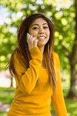 Portrait of young woman using mobile phone in the park
