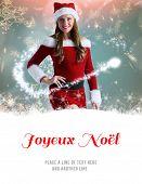 sexy santa girl smiling at camera against joyeux noel