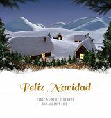 Feliz navidad against cute village in the snow