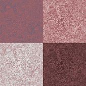Set of 4 abstract ornamental seamless patterns in marsala color