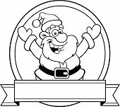 Cartoon Santa Claus with a banner.