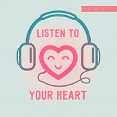 Cute heart listening yourself
