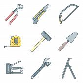 color outline house remodel tools icons