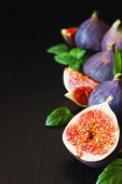 Fresh Figs And Mint Leaves