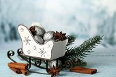 foto of walnut-tree  - Beautiful Christmas composition with silver walnuts - JPG