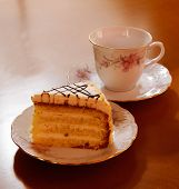 Piece Of Cake And Cup Of Tea, Selective Focus