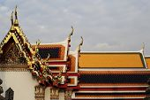 Thai Pattern Roof Church on Wat Pho temple, Bangkok, Thailand