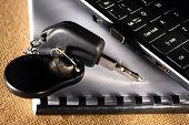 Notebook, Car Key And Computer Keyboard