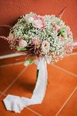 Wedding Bouquet In Creamy Fine Art Style