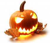 Angry Halloween Pumpkin With Oak Leaves