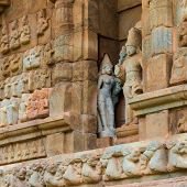 pic of tamil  - part of wall Great architecture ancient Gangaikonda Cholapuram Temple India Tamil Nadu Thanjavur  - JPG