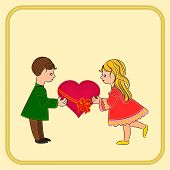 Valentine's Day Cute  Figure Kids And Heart Vector