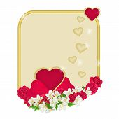 Valentine Day Frame Of Heartswith Flowers Background Vector