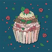 Drawing of muffin. Cupcake decorated with berries. Mild pastel colors.