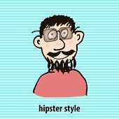 Cartoon hipster style