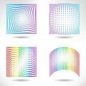 Set of Modern Flat Halftone Backgrounds