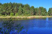 River Deserted Spring Landscape.