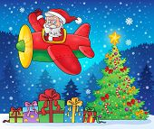 Santa Claus in plane theme image 9 - eps10 vector illustration.