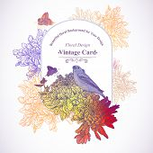 Floral Greeting Card with Birds