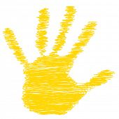 Conceptual yellow painted drawing hand shape print or scribble isolated on white paper background