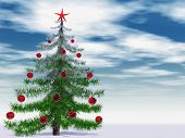 Conceptual Christmas fir tree with globes ornaments and a red star over a blue sky
