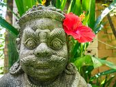 Dvarpala (guardian) statue with a red hibiscus, Thailand
