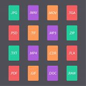 Multicolored set of document file formats