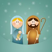 stock photo of nativity scene  - an illustration of Nativity scene for Christmas - JPG