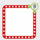 stock photo of bit coin  - red frame for any text with screws and bit coin symbol - JPG