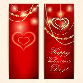 Vector Saint Valentine red greeting card with hearts and golden jewelry