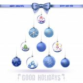 Crystal Glass Balls Set With Christmas Gifts As Tree And Bow In Vector