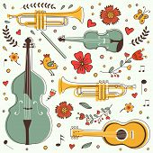 Musical instruments colorful collection with flowers and birds