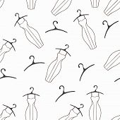 Doodle Dresses And Hangers Seamless Pattern