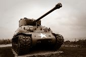 Us Army Sherman Tank At Normandy D Day Landing Historic Site In France