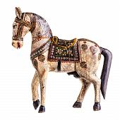 picture of wooden horse  - a finely decorated ancient wooden horse isolated over a white background - JPG