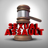 stock photo of rape  - Sexual assault concept and rape crime symbol as a legal court judge mallet hitting a three dimensional text as an icon of sex violence harassment and criminal physical contact - JPG