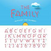 Cartoon alphabet and numbers
