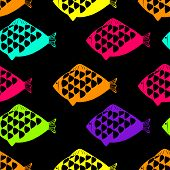 Vector seamless pattern with fishes. Illustration.