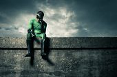 Pensive Green Superhero